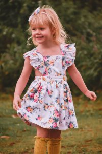 Marilyn Flutter Pinny with Headband For Baby Girls