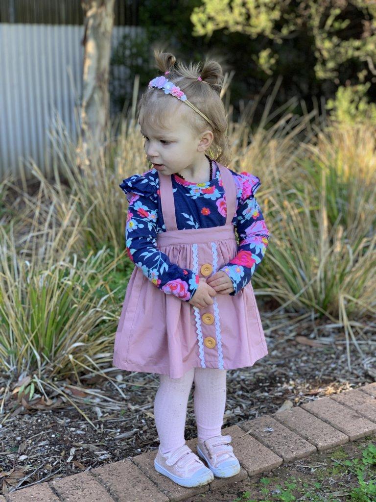 Baby girl wearing Blush Pink Skirt