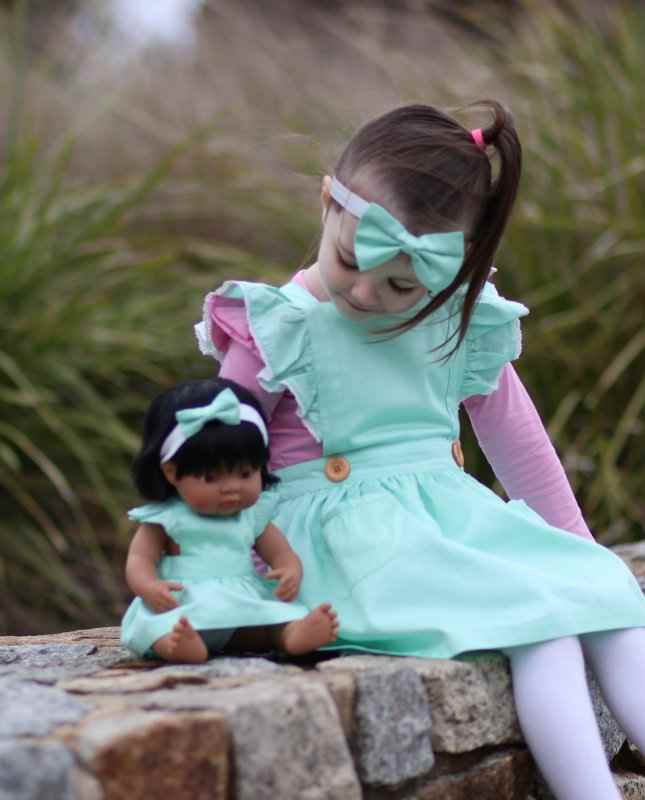Mint flutter pinny with headband for Dolls