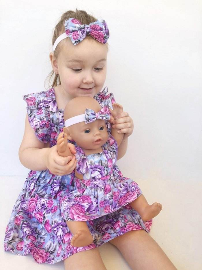 Makayla Dolly Flutter Pinny With Headband Gallery 2