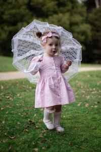 Girl wearing Pastel Pink Button Dress
