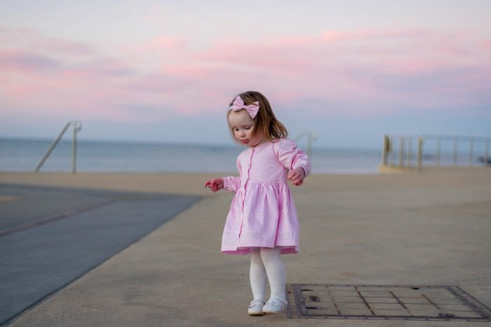 Pastel Pink Long Sleeve Button Dress With Headband Gallery 2