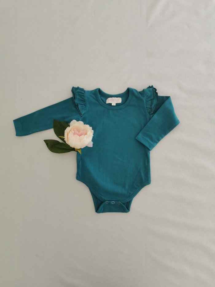 Teal Long Sleeve Flutter
