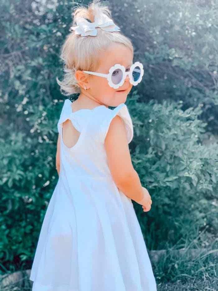 White bow back twirly dress