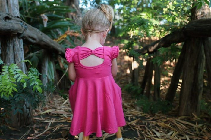 Ruby pink bow back twiirly dres