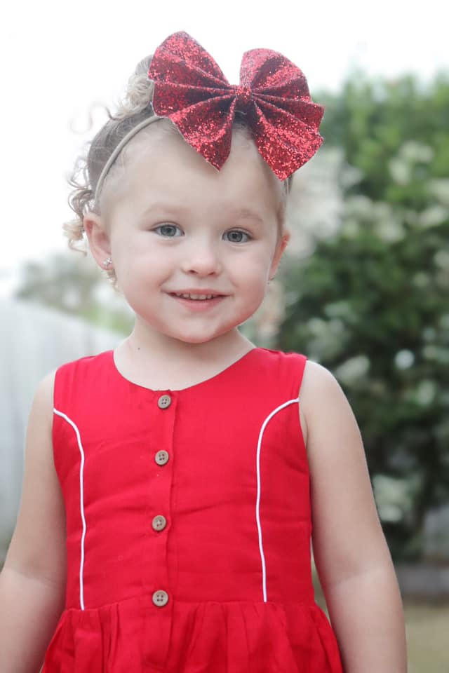 Candy red button dress