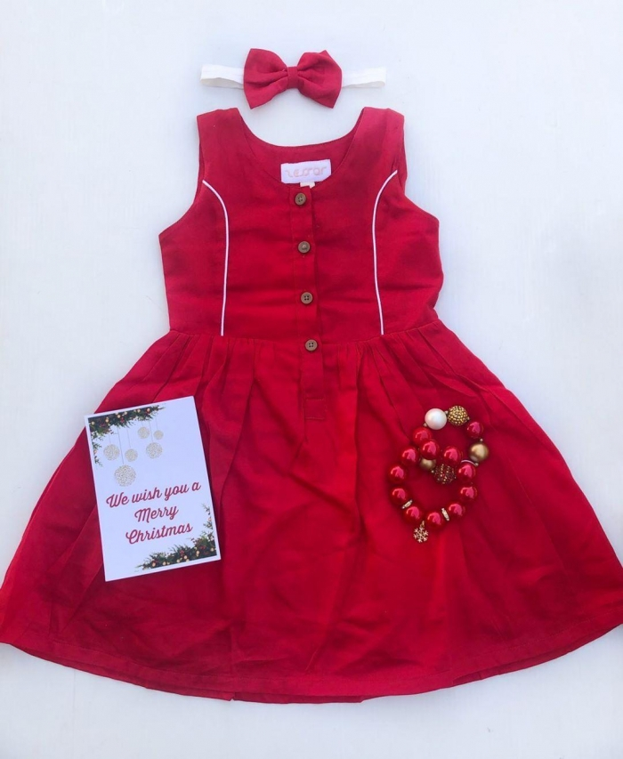 candy red summer button dress