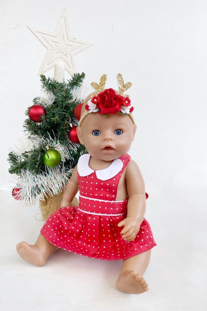 rose red spotted doll clothes