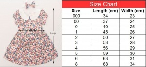 Size chart of vintage dress