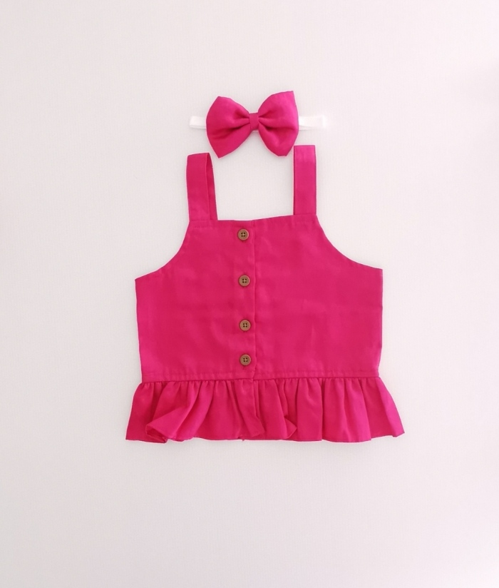 Ruby pink frill top