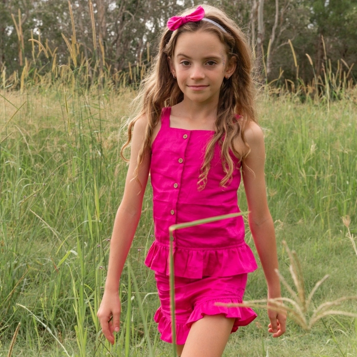 ruby pink top and shorts for girls 1