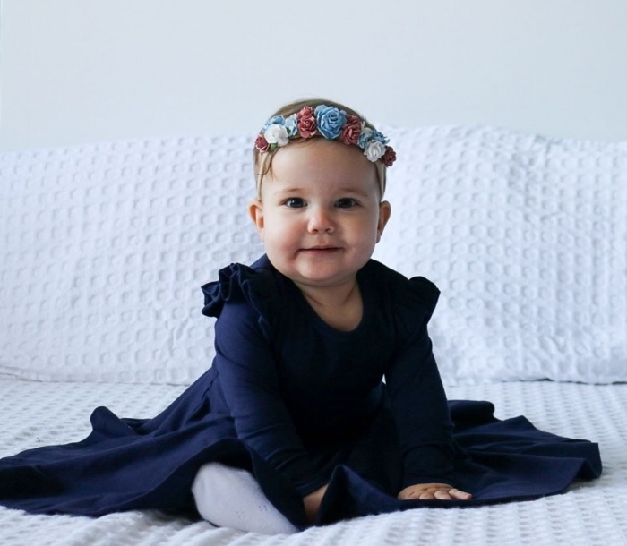 Navy long sleeve twirly dress