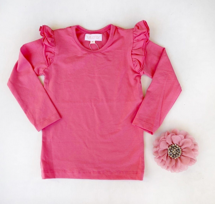 Rose pink long sleeve flutters