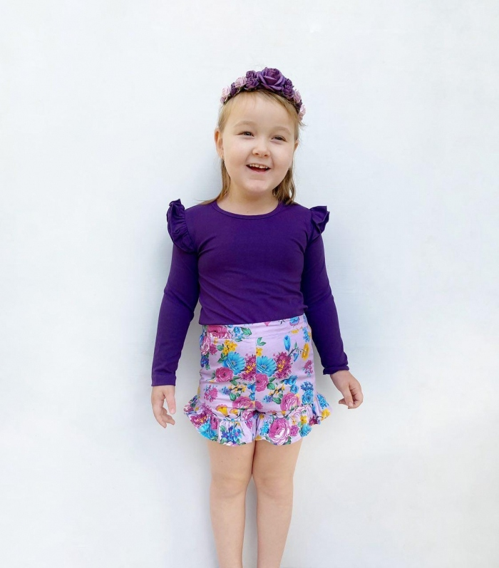 Violet long sleeve flutters for baby girls 1
