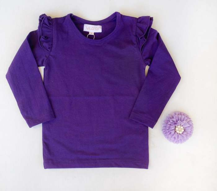 Violet long sleeve flutters for girls
