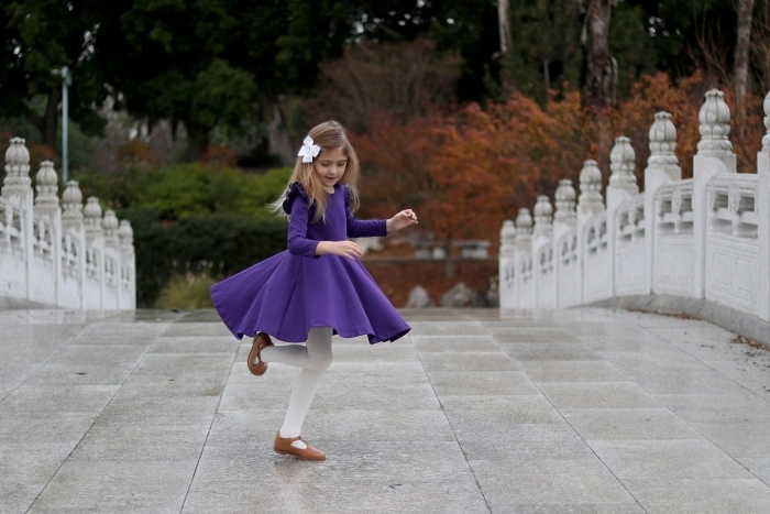 Violet long sleeve twirly dress