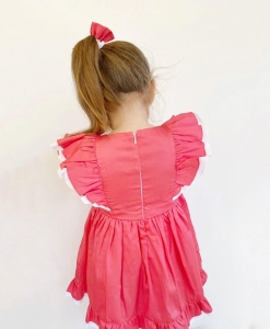 Back details of coral ruffles dress