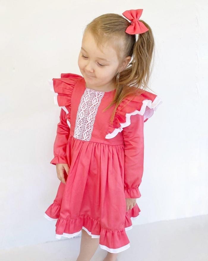 Coral long sleeve ruffles dress