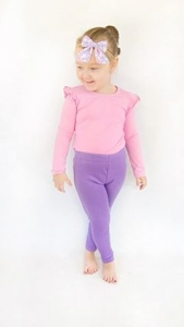 Lilac leggings with pink flutter