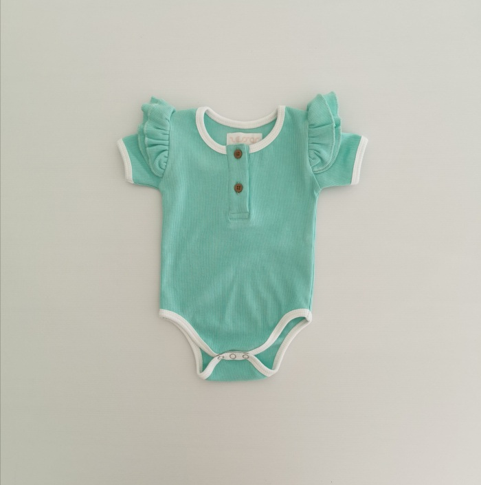 Mint short sleeve ribbed top