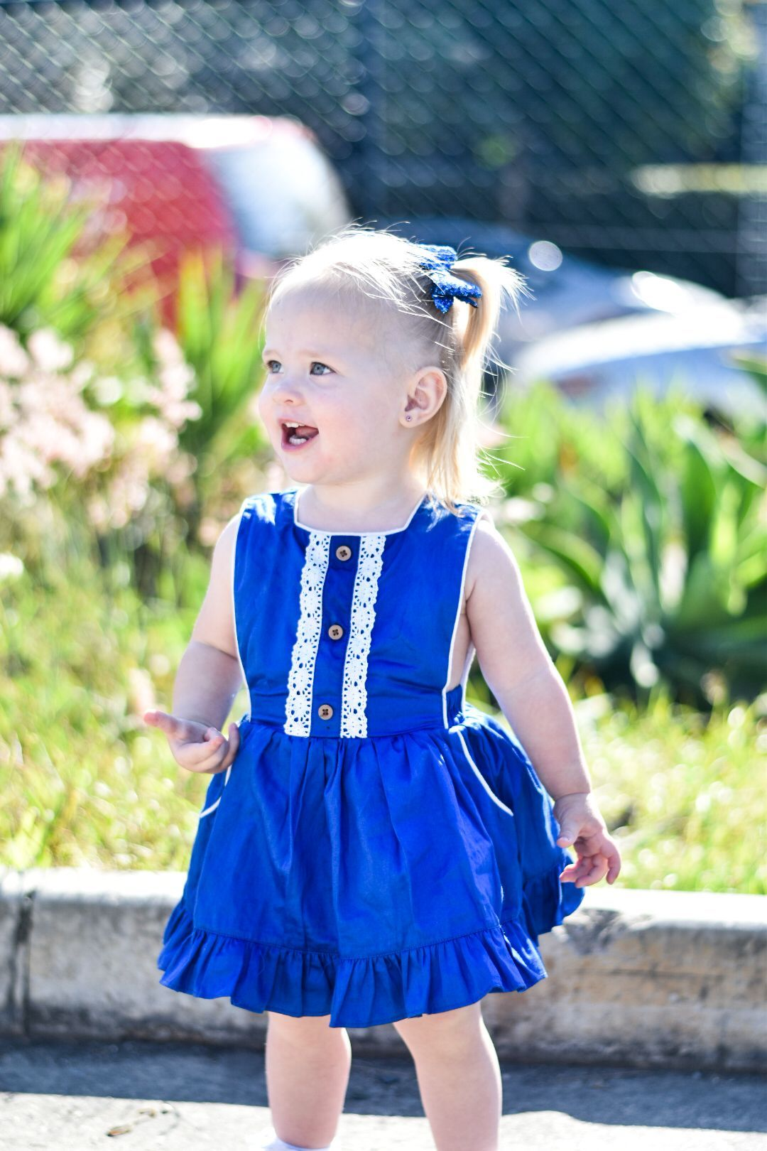 Cute girl in blue dress
