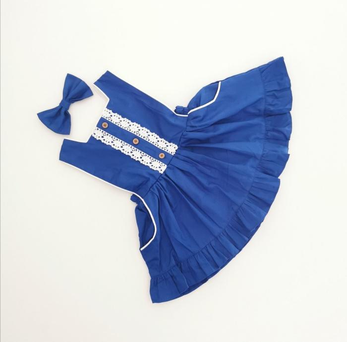Royal blue button bib dress