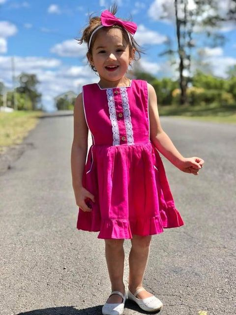 Ruby pink button bib dress