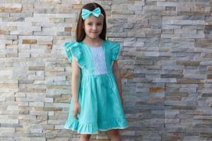 Cute girl in green dress