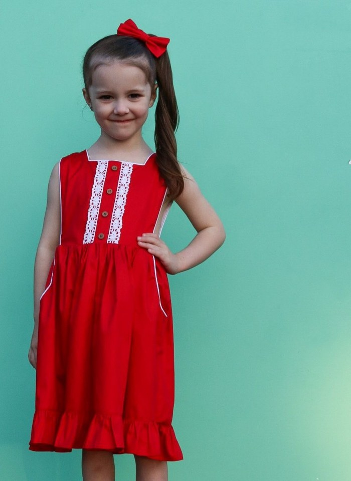 Merry button bib dress