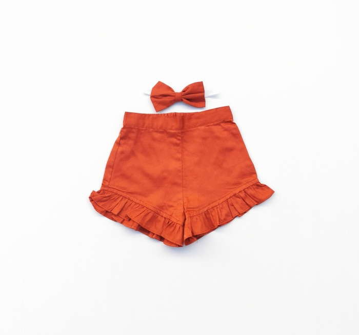 Rust frill shorts