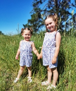 Sisters in matchy matchy playsuit
