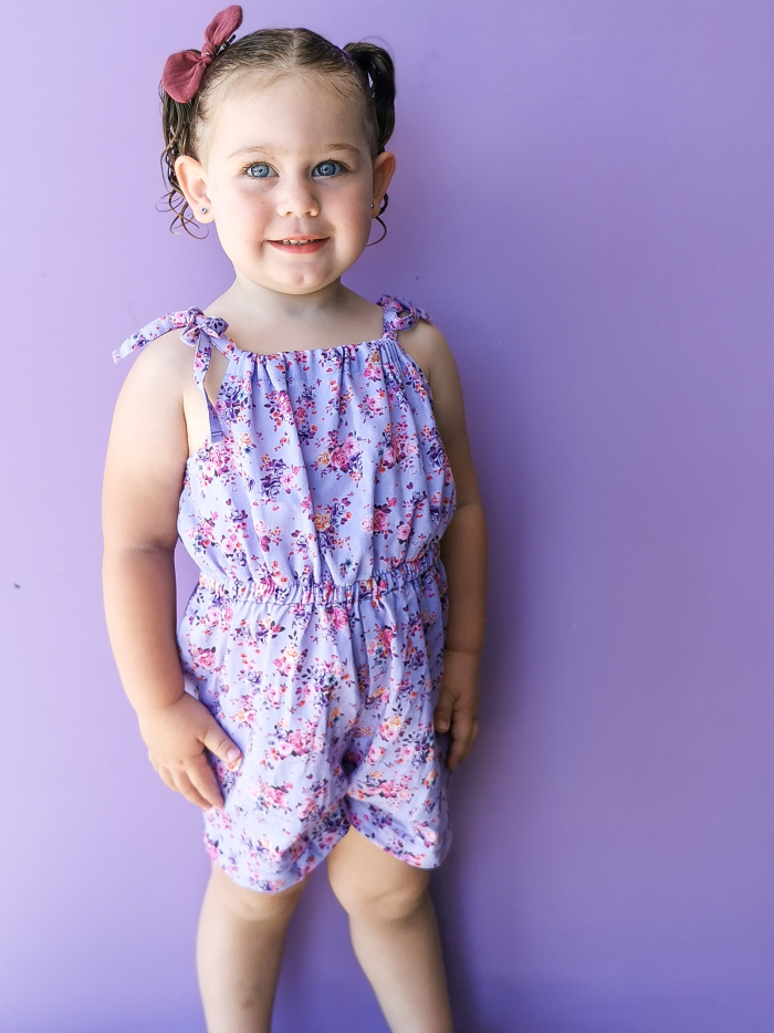 Amelia tie up playsuit for girls