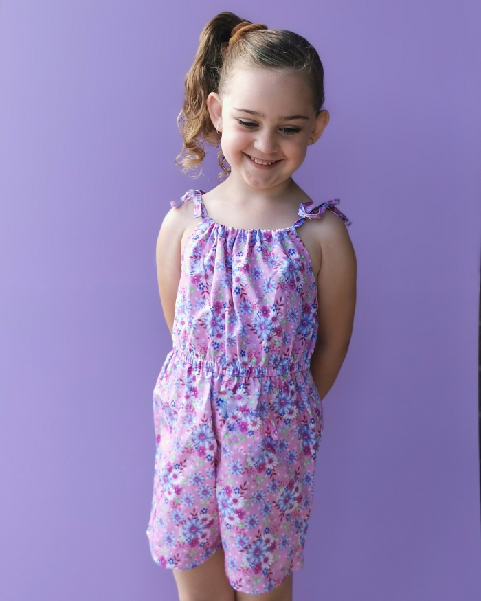 Audrey tie up playsuit for girls