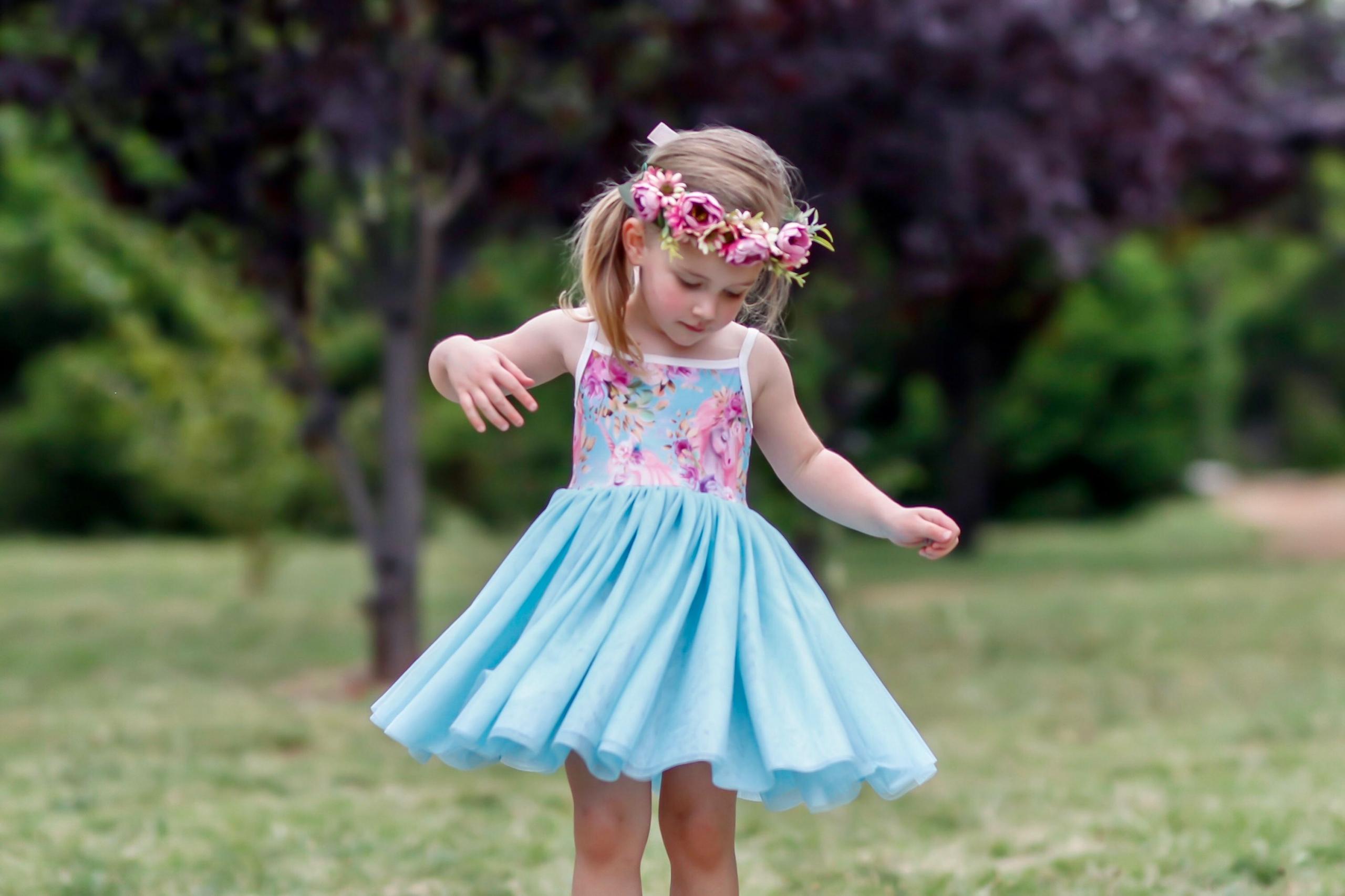 Cute girl in tutu dress