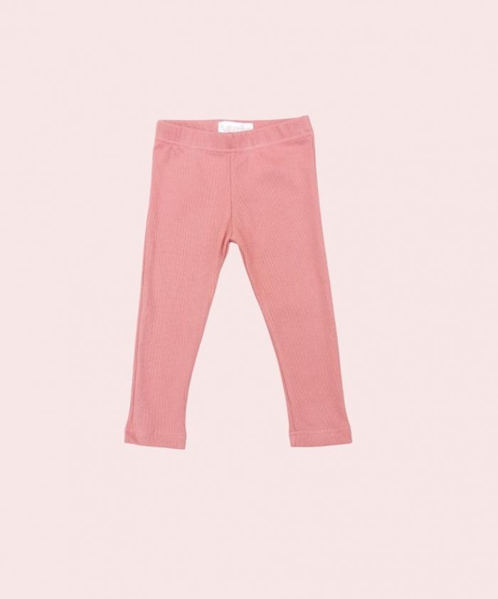 Dusty pink ribbed leggings