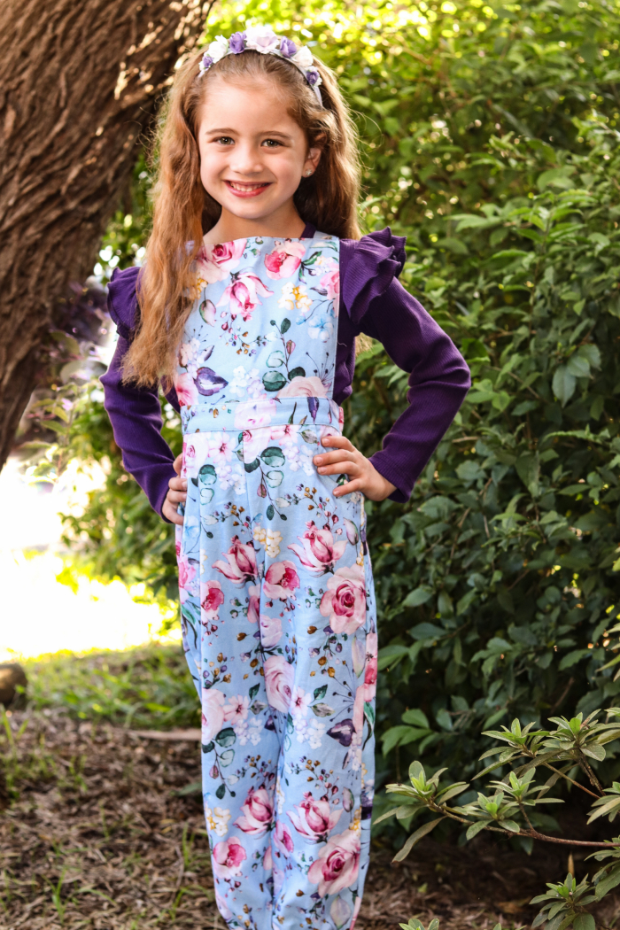 Brooklyn overalls with plum for girls