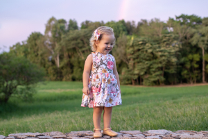 Cute girl in pinafore
