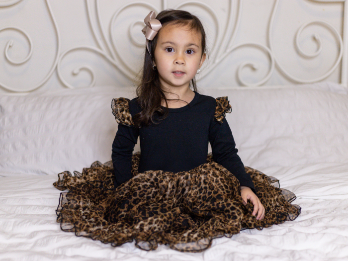 Leopard tulle long sleeve dress