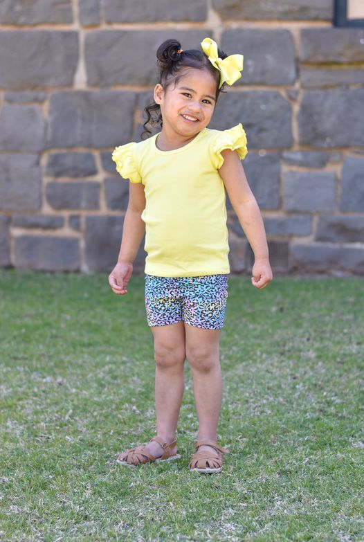 rainbow leapord shorts for baby girls