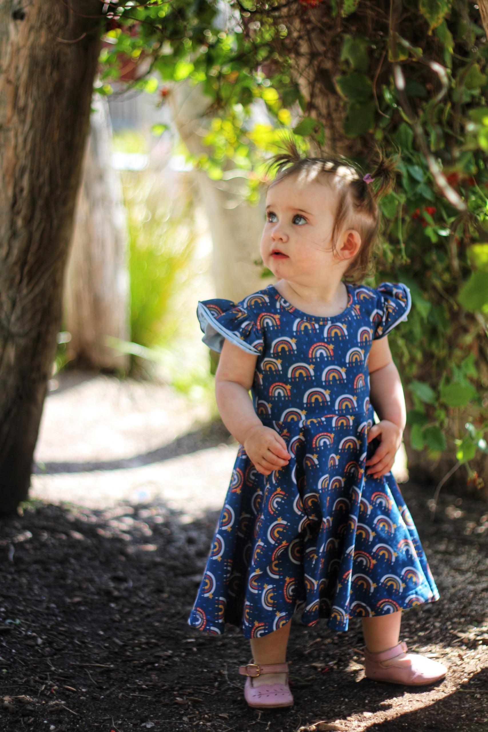 little girl in twirly dress