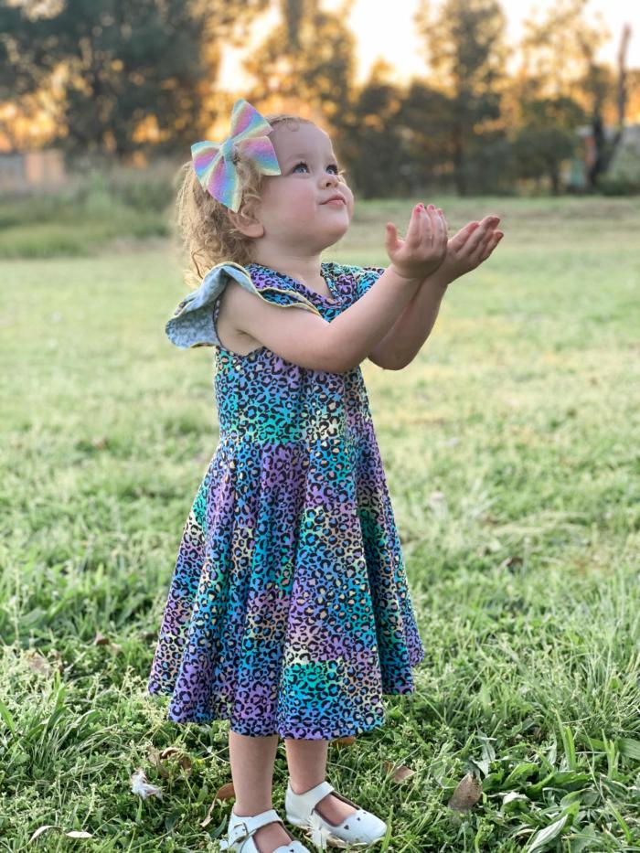 Rainbow Leopard twirly dress